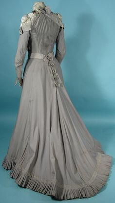 c. 1900 Victorian Gown / Gibson Era Gray High-Necked Cotton and Beaded 2-piece Afternoon Gown, back view