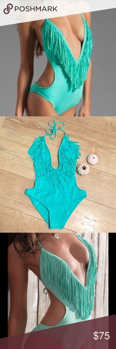 "BRAND NEWLSPACE☀️ Fringe Monokini One Piece!!! ☀️Lspace☀️ Teal ""Sea foam"" fringe. 80% Nylon and 20% Spandex. Made in the USA Swim One Pieces"