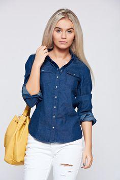 Top Secret darkblue denim women`s shirt with long sleeve, women`s shirt, long sleeves, denim fabric, easy cut, with buttons