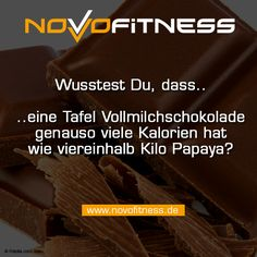 1 Tafel Schokolade hat so viele Kalorien wie 4,5 Kilo Papaya