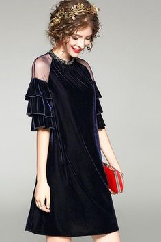 A-Line Beaded Dress With Ruffled Sleeve Detail Neckline: Round With Bead Detail Shoulder: Mesh Detail Sleeve: Half Sleeve Length: Mini Fabric: Velvet
