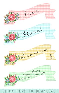 Pretty Floral Printable Banners Part 3 @penny shima glanz shima glanz shima glanz Douglas Pretty Things For You