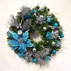 Christmas Wreath Blue Fantasy Holiday Wreath Front by Floralwoods, $60.00