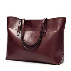 Women's Leather Work Tote Large Shoulder Bag Top Handle Handbag Zipper Closure Wide Coffee $36.99