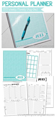 AWESOME 2013 (AUG-DEC) Personal Monthly/Weekly Planner - Printable!! Works great with ARC or Martha Stewart disc bound binders from Staples.