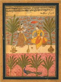 Varari ragini, a woman fans a prince with a yak-tail fly whisk (chauri) in a garden wih peacock below. Made  late 17th C. Ahmadnagar., Deccan. A puzzling blend of styles. Faces probably altered in Delhi in 1800. VAM.