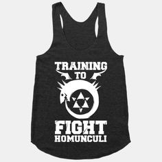 About Training to Fight Homunculi Racerback Tank AYThis tank top is Made To Order, we print one by one so we can control the quality. We use DTG Technology to print Training to Fight Homunculi Racerback Tank AY. Workout Gear, Workout Shirts, Anime Outfits, Cool Outfits, Fandom Outfits, Fullmetal Alchemist, Diy Clothes, Cool Shirts, Hoodies
