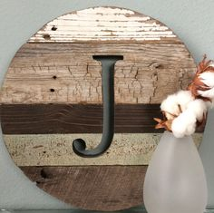 """12"""" Round Letter J Barn Wood  Reclaimed Wood Monogram Wall Art Initials Rustic Upcycled Wooden Alphabet Home Decor Sign"""