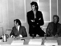 Elvis press conference , august 1 1969 in Las Vegas with Joe on the left & Vernon Elvis,s Dad on the Right all in heaven together now RIP Guys*}