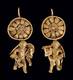 A PAIR OF GREEK GOLD EARRINGS  HELLENISTIC PERIOD, CIRCA LATE 4TH-3RD CENTURY B.C.E.  Each: 1½ in. (3.8 cm.) long.  Provenance:  Private Collection, New York, acquired in the 1980s. Glenn Alan Sandison Collection, Washington, D.C.
