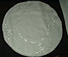 """The Gatherings Antique Vintage - Vintage 1930's Gray White Embroidery 30"""" Round Linen Center Piece Doily Tablecloth, $25.00 (http://store.the-gatherings-antique-vintage.net/vintage-1930s-gray-white-embroidery-30-round-linen-center-piece-doily-tablecloth/)"""