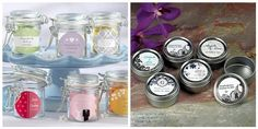 DIY personalized bath salts for bridal shower favors.