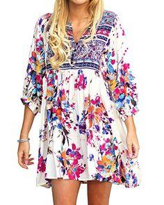 4aca41b9ec Kathemoi Womens Boho Beach Dresses Floral Tribal Print V Neck Summer Mini  Dress at Women s Clothing store