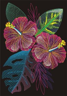 Machine embroidery design Hibiscus flowers with leaves in the tropics Machine embroidery design Hibiscus flowers with leaves in the tropics Products 2 HIBISKUS embroide. Crewel Embroidery Kits, Machine Embroidery Patterns, Hand Embroidery Designs, Embroidery Thread, Etsy Embroidery, Indian Embroidery, Machine Applique, Embroidery Jewelry, Applique Designs