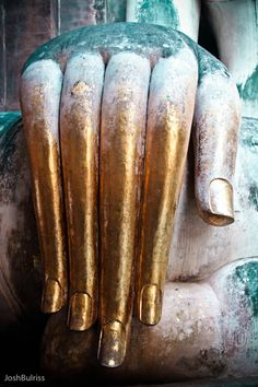 """Sukhothai was the first capital of ancient Siam home of the white giant seated Buddha ~ Sukhothai means """"Dawn of Happiness"""". Buddha's Hand, Hand Art, Hand Mudras, Lotus Sutra, Buddha Temple, Tibetan Buddhism, Buddhist Art, Meditation Space, Fantastic Art"""