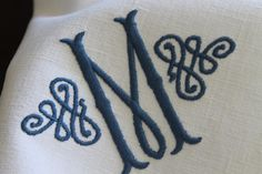 Monogrammed Personalized Embroidered Dinner Cloth Table Linen Napkins Serviettes Made With Vintage French Metis Linen All Initials Available