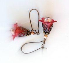 Flower Brass Earrings, Reddish Pink Lucite, Czech Glass