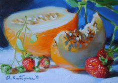 "Daily Paintworks - ""Melon and Strawberries"" by Elena Katsyura"