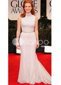 A line white chiffon sleeveless round collar evening golden globe dress