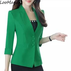 Casual Ladies Blazers jackets New 2017 Summer Small Thin Formal Korean Small Suit jacket Women Work Lady Coat Plus Size Blazer Jackets For Women, Blazers For Women, Suits For Women, Clothes For Women, Ladies Blazers, Blazer Fashion, Skirt Fashion, Fashion Dresses, Cute Office Outfits