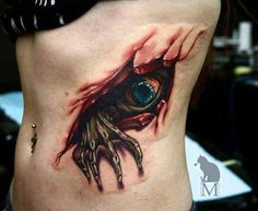 eye & creepy hand coming out of wounded flesh tattoo. Tattoos 3d, Creepy Tattoos, Bild Tattoos, Body Art Tattoos, Best 3d Tattoos, Dragon Tattoos, Small Tattoos, Sleeve Tattoos, Tatoos