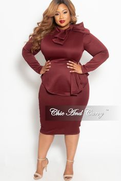64faea5e276 Plus Size BodyCon Peplum Dress with Neck Tie and Back Zipper – Chic And Curvy  Chic