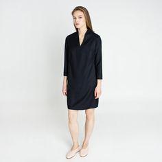 Lora Wool Dress Navy Elementy #dress #navy #wool #mini #elementy #minimal #classic #polishfashion