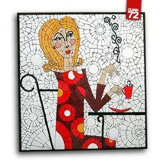 """OBRAZ MOZAIKOWY """"KAWA"""" OLIWA72 . CERAMIKA Obraz wykonany w technice mozaiki ceramicznej.  Wymiary: 67x72x3cm. Mosaic."""
