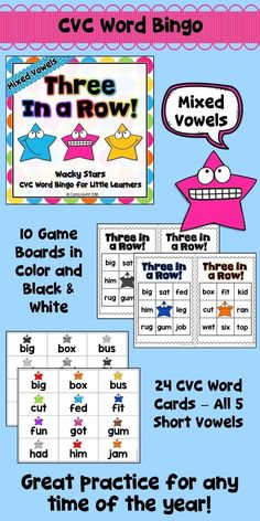 Word Bingo - mixed practice with all 5 short vowels. Just print the bingo boards and word cards, cut the boards and word cards apart, and  you're ready to play! Easy prep for you, maximum engagement for your students! This game is perfect for centers or small group work any time of the year!