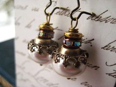 pearl earringsvintage brasscrownsvintage by Candies64 on Etsy, $26.00