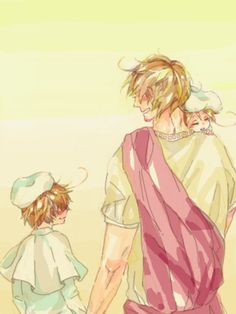 Lucius (head-canon name for Rome) and young Lovino and Feliciano - Artist unknown