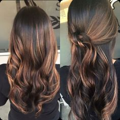 Beautiful highlights on dark brown hair,caramel highlights ideas ,dark hair with red and blonde