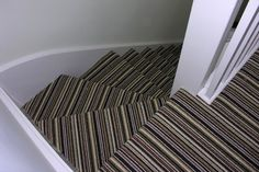 @moxiethrift on etsy Daehling: moxiethrift Zealand Stripe Carpet on stairs downward view