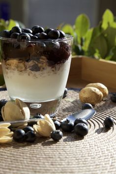Healthy breakfast - granola, greek yogurt and jam