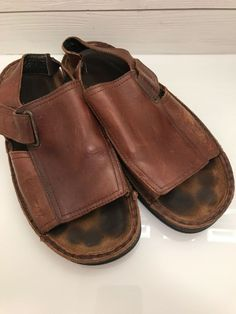 ee05e1a7b02 Naot Brown Leather Sandals Womens Size 42 US 11 Hook n Loop Slip On  Naot