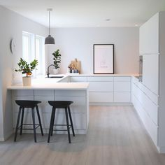 Scandinavian Kitchen Design Interior of the All White and Beautiful Tiny Kitchen - Home Ideaz Home Decor Kitchen, Diy Kitchen, Kitchen Interior, Home Kitchens, Kitchen Dining, Interior Plants, Design Kitchen, Scandinavian Kitchen, Scandinavian Design