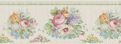 Off White Floral Bouquet Wallpaper Border By Brewster