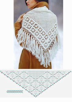 Crochet and arts: Shwals by spider stitch Crochet Diagram, Crochet Motif, Crochet Flowers, Free Crochet, Crochet Patterns, Crochet Shawls And Wraps, Crochet Scarves, Crochet Clothes, Patron Crochet