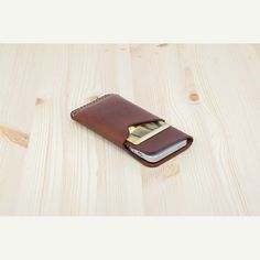 DHK GOODS iPhone 5S / 5 Sleeve - leather iPhone case with card holder at front. Brown oily leather