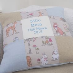Woodland Name and Date Cushion Blue Bed Pillows, Cushions, Little Boys, New Baby Products, Pillow Cases, Quilts, Blanket, Handmade Gifts, Woodland