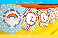 Rainbow Party Banner / Rainbow Birthday Banner / #rainbowparty #rainbowbirthday #rainbowbanner