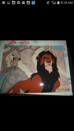 Hand painted on acetate cel with acrylic paint Scar and Simba.