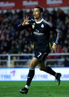 Cristiano Ronaldo of Real Madrid CF celebrates scoring their opening goal during the La Liga match between Rayo Vallecano de Madrid and Real Madrid CF at Vallecas Stadium on April 2015 in Madrid, Spain Cristiano Ronaldo Quotes, Cristiano Ronaldo Manchester, Cristino Ronaldo, Cristiano Ronaldo Junior, Ronaldo Juventus, Real Madrid Football Club, Real Madrid Players, Best Football Team, Portugal National Football Team