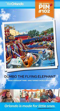 Dumbo The Flying Elephant - Soar high and take a whimsical flight over Storybook Circus amid the jubilant sounds of carnival music aboard Dumbo the Flying Elephant. No minimum height requirement. #VisitOrlando #WaltDisneyWorld #Dumbo #Orlando #Preschool #littleones #travel #familytravel