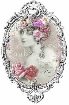 Vintage Bügelbild French Collage Mademoiselle No.2