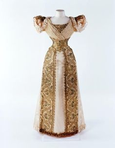 An 1893 beetle wing embroidered evening dress by Louise Winter, currently in the Museum of London.