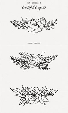 Floral Botanical Illustrations by BirDIY Design on Hand Embroidery Patterns, Embroidery Art, Embroidery Designs, Embroidery Alphabet, Illustration Botanique, Illustration Blume, Rose Clipart, Flower Clipart, Flower Outline