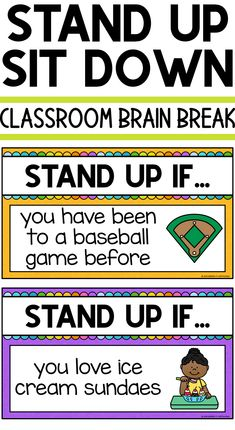 Brain Break for Elementary Students: Stand Up Sit Down New Classroom, Classroom Activities, Google Classroom, Physical Activities, Classroom Ideas, Elderly Activities, Dementia Activities, Movement Activities, Motor Activities
