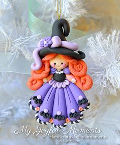 Handcrafted Polymer Clay Halloween Witch Ornament