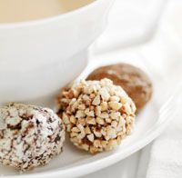 Cashew Coconut or Chocolate Truffle Power Balls - seriously these are sooo good. I've made them with organic raisin and walnuts too. They really taste like truffles! (i have not tried them with protein powder. That might change the texture)